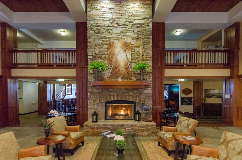 The lodge lobby at Running Y Ranch Resort in Klamath Falls, Oregon