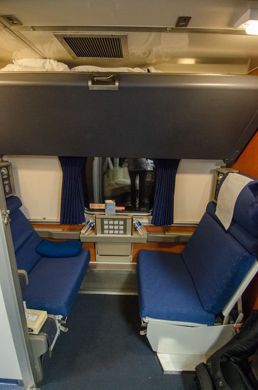 An Amtrak Roomette Sleeper Cabin (before folding down the beds)