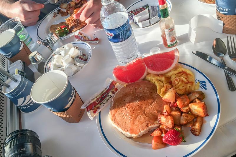 Breakfast on the Amtrak Coast Starlight train: Pancake, eggs, and hash browns