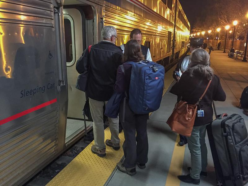 Traveling by sleeper car on the Amtrak Coast Starlight train: Boarding in San Jose