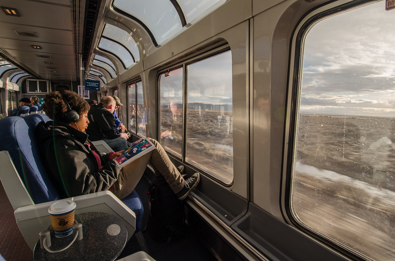 Riding in the Amtrak Lounge Car to enjoy the view