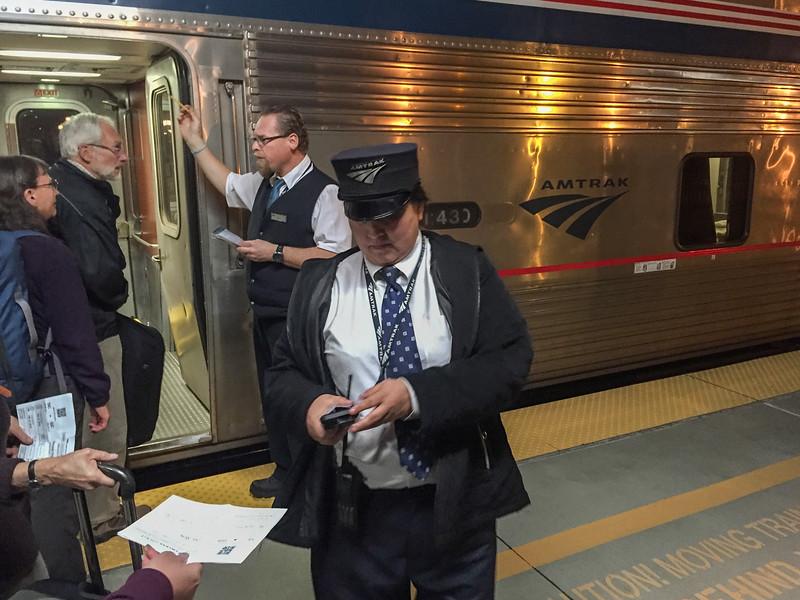 Traveling by overnight sleeper car on the Amtrak Coast Starlight train: Boarding in San Jose