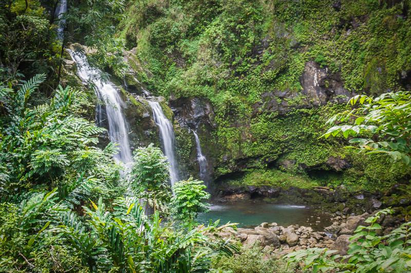 "Upper Waikani or ""Three Bears"" Waterfall: Best Road to Hana tour stops, Maui"