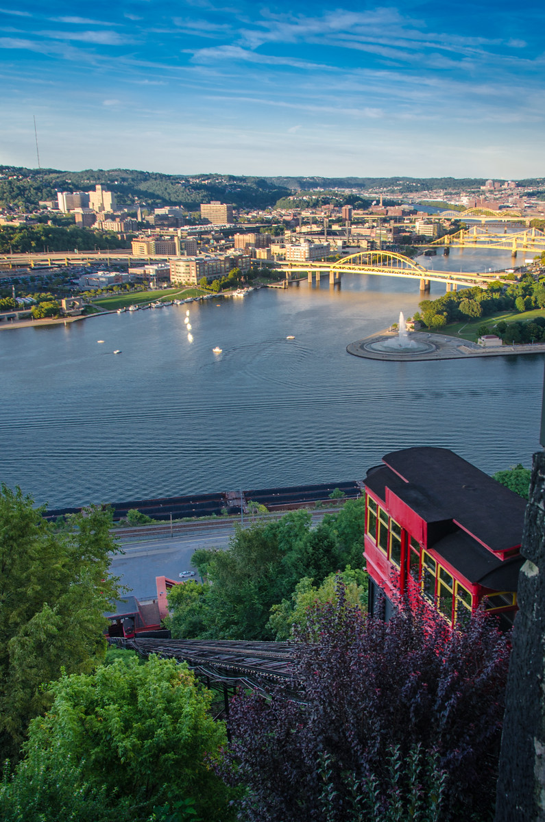 Sunset view from above the Duquesne Incline in Pittsburgh