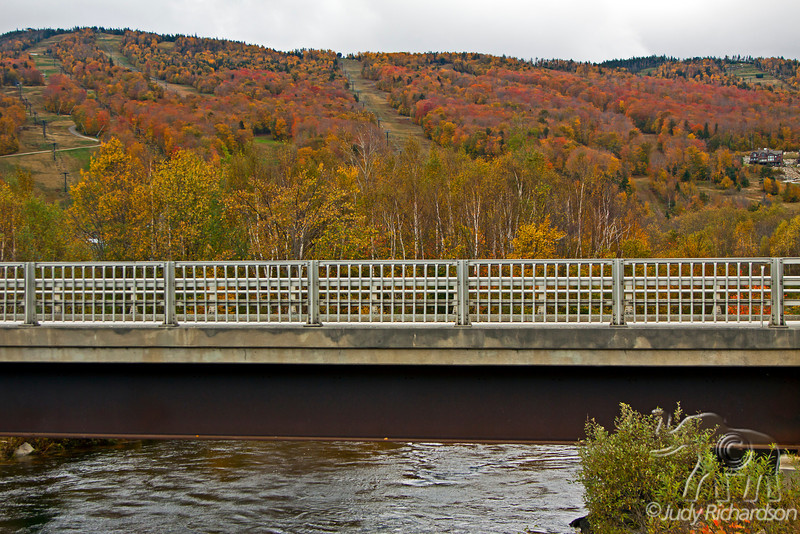 Ski slope and bridge in White Mountains of New Hampshire
