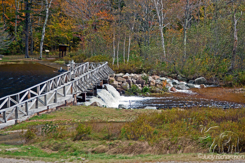 Flooded foot bridge at Silver Cascade Falls in Crawford Notch State Park, New Hampshire