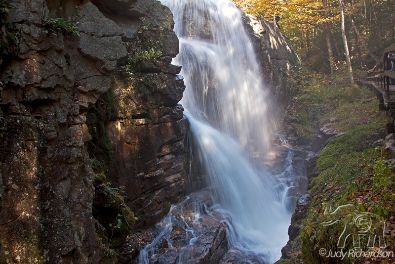 Flume Gorge Waterfall in Franconia Notch State Park after torrential rains the previous day