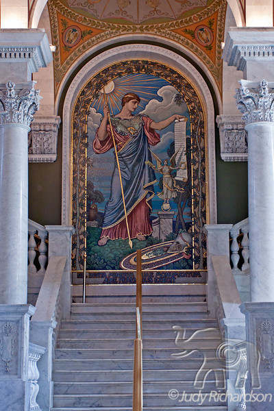 Beautiful Mural at the Library of Congress, Thomas Jefferson Building, Painting of the Goddess Minerva
