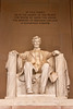 Lincoln with dedication above monument at the Lincoln Memorial