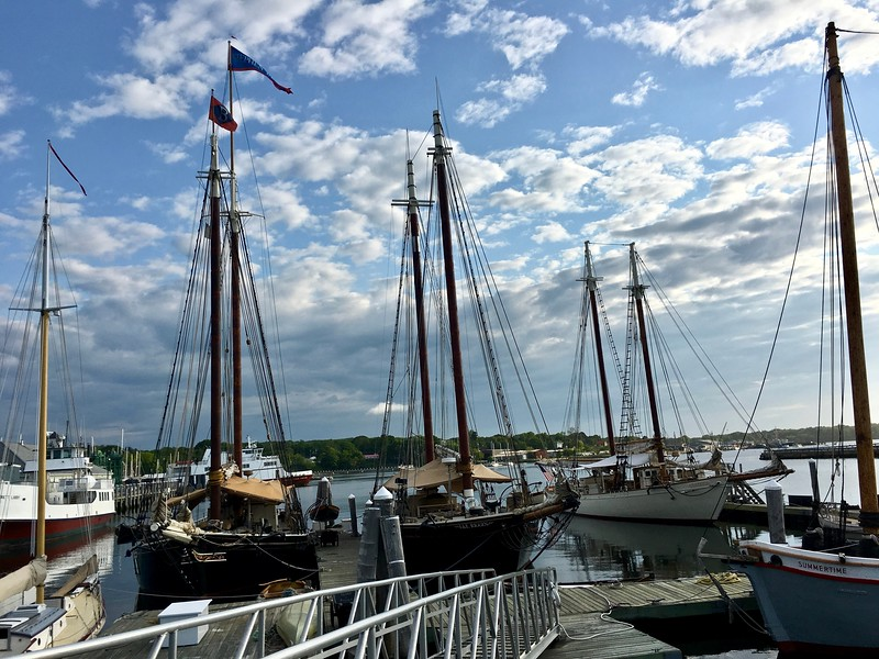 the windjammer schooner J & E Riggin at the harbor in Rockland, Maine