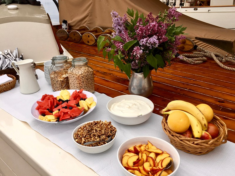 breakfast on the J & E Riggin, a Maine windjammer cruise out of Rockland, Maine