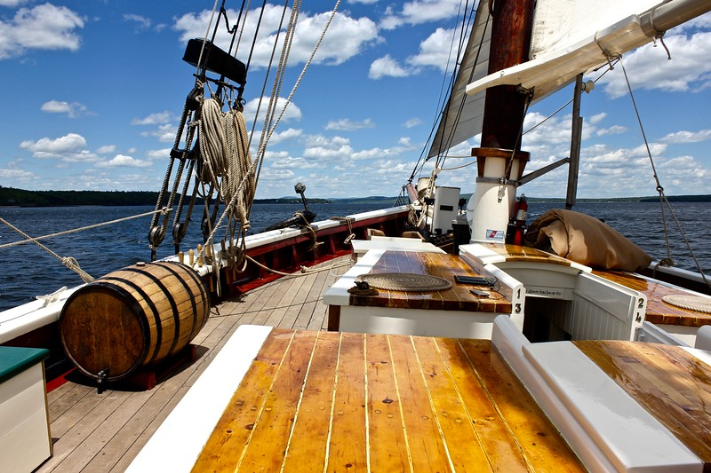 a sunny day at sea on the J & E Riggin, a Maine windjammer cruise out of Rockland, Maine
