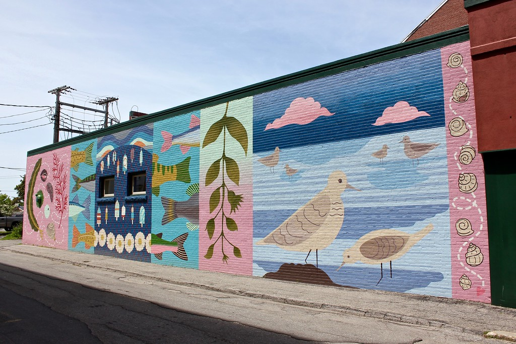 mural on a building in Rockland Maine
