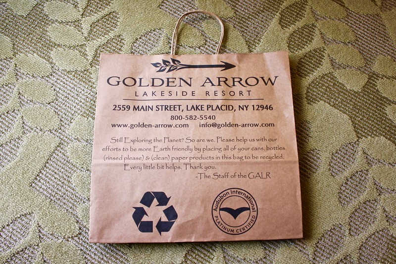 paper recycling bag at the Golden Arrow Lakeside Resort