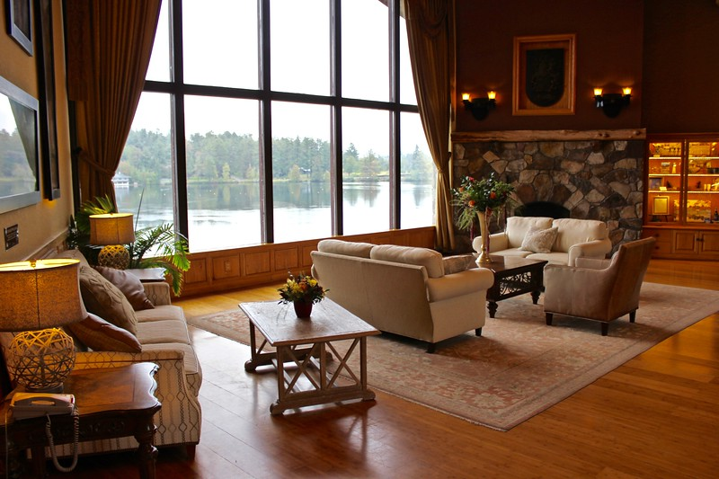 the lobby of the Golden Arrow Lakeside Resort in Lake Placid, New York