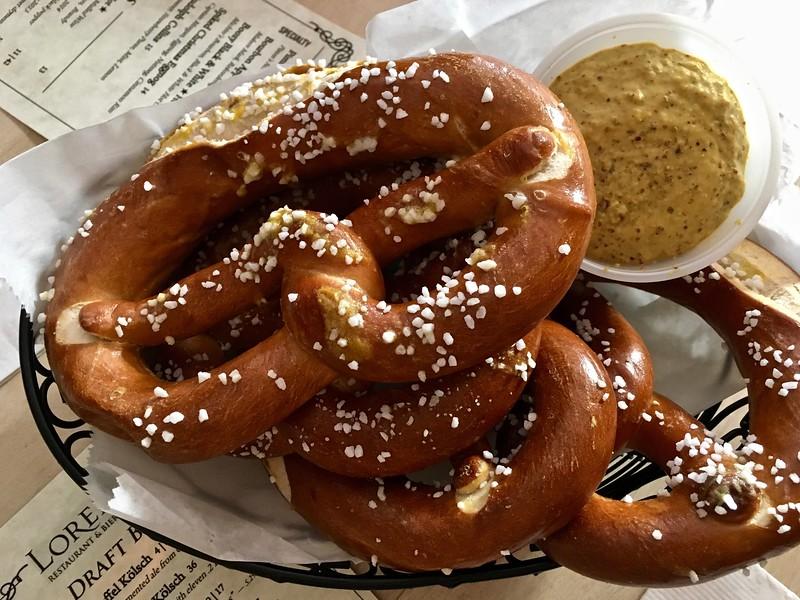 pretzels at Loreley Restaurant and Beer Garden in New York City
