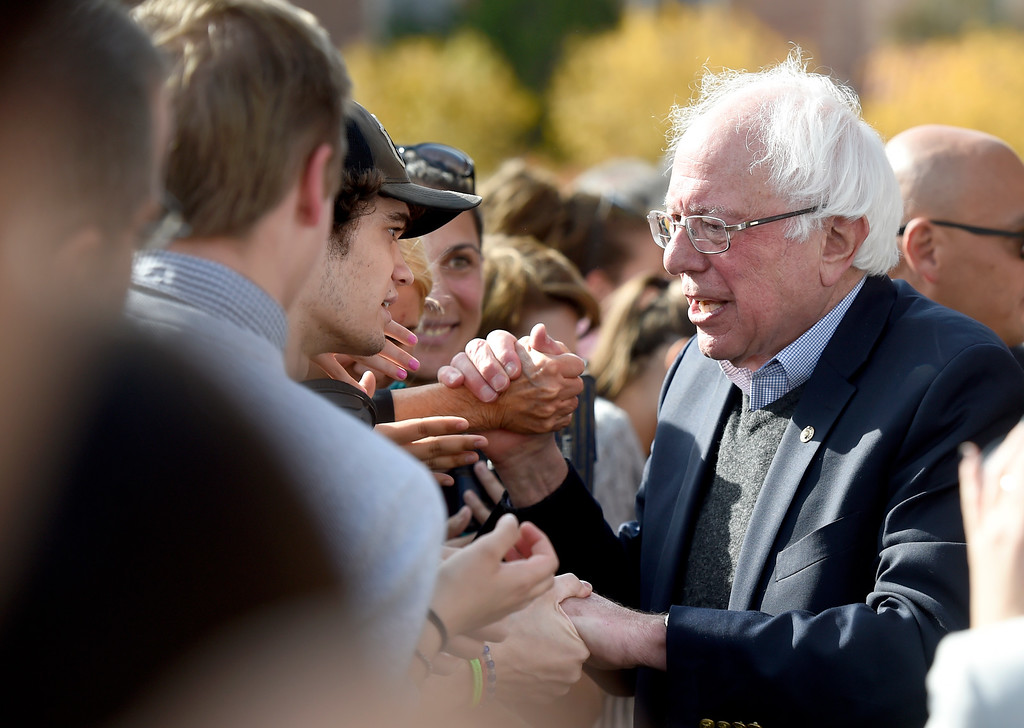. BOULDER, CO - OCTOBER 24, 2018: Sen. Bernie Sanders shakes hands with supporters during a Democratic rally with U.S. Rep. Jared Polis and Joe Neguse on Wednesday at the University of Colorado in Boulder. For more photos of the rally go to dailycamera.com (Photo by Jeremy Papasso/Staff Photographer)