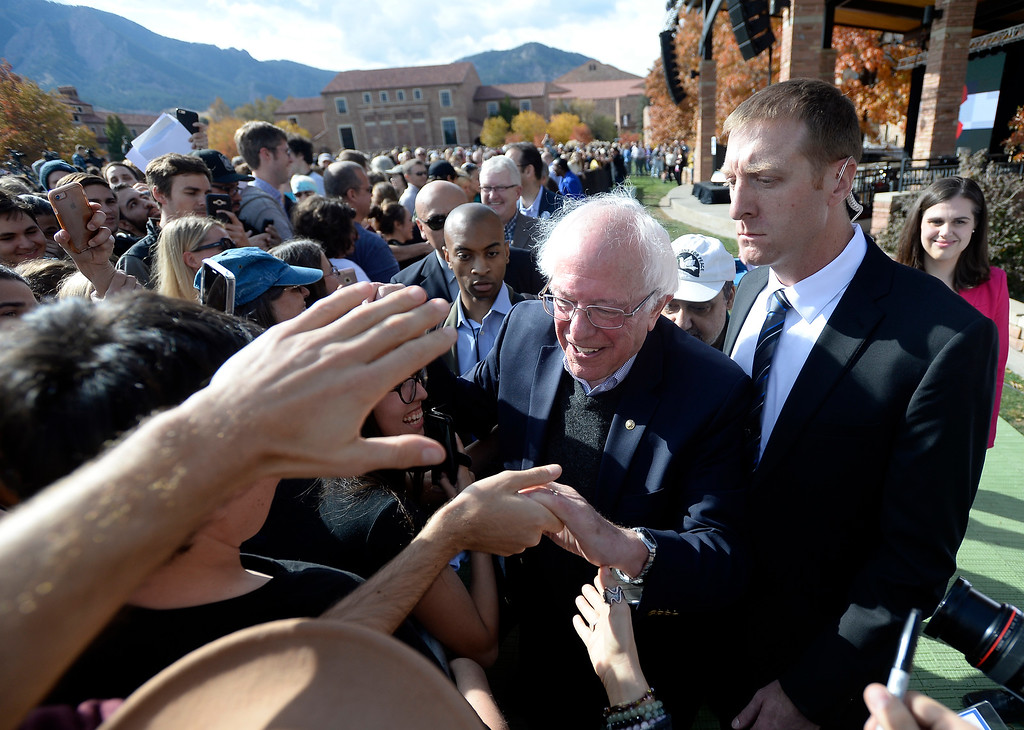 . BOULDER, CO - OCTOBER 24, 2018: Sen. Bernie Sanders shakes hands with supporters during a Democratic Rally on Wednesday at the University of Colorado in Boulder. For more photos of the rally go to dailycamera.com (Photo by Jeremy Papasso/Staff Photographer)