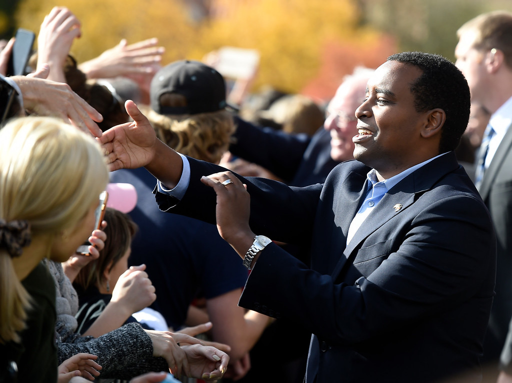 . BOULDER, CO - OCTOBER 24, 2018: Democrat Joe Neguse shakes hands with supporters during a Democratic rally with Sen. Bernie Sanders and U.S. Rep. Jared Polis on Wednesday at the University of Colorado in Boulder. For more photos of the rally go to dailycamera.com (Photo by Jeremy Papasso/Staff Photographer)