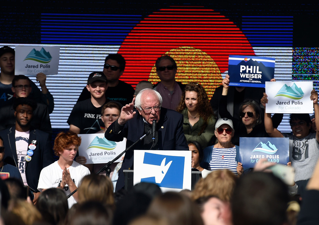 . BOULDER, CO - OCTOBER 24, 2018: Sen. Bernie Sanders speaks during a Democratic rally on Wednesday at the University of Colorado in Boulder. For more photos of the rally go to dailycamera.com (Photo by Jeremy Papasso/Staff Photographer)
