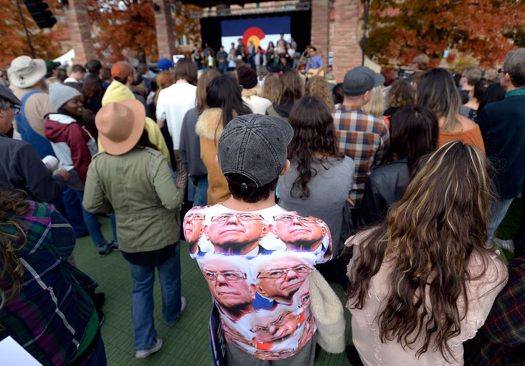 . BOULDER, CO - OCTOBER 24, 2018: University of Colorado freshman Sam Garson wears a Sen. Bernie Sanders during a Democratic rally with Sen. Bernie Sanders, U.S. Rep. Jared Polis and Joe Neguse on Wednesday at the University of Colorado in Boulder. For more photos of the rally go to dailycamera.com (Photo by Jeremy Papasso/Staff Photographer)