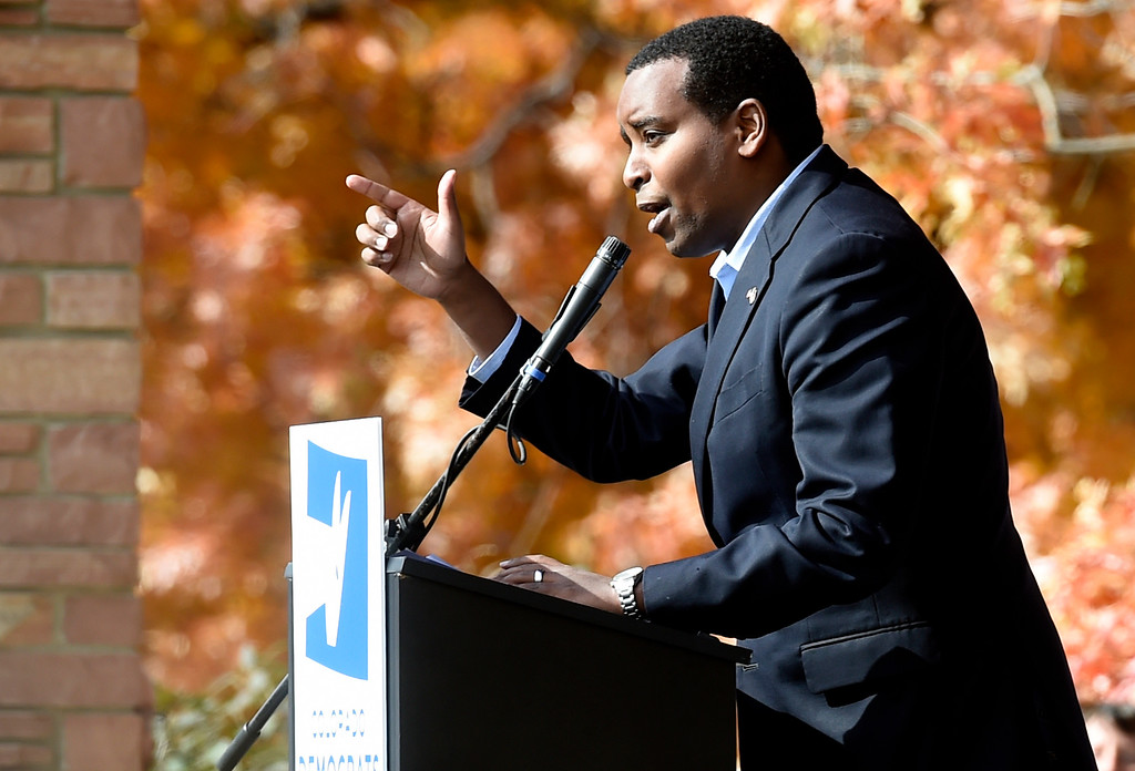 . BOULDER, CO - OCTOBER 24, 2018: Democrat Joe Neguse speaks during a Democratic rally with Sen. Bernie Sanders, U.S. Rep. Jared Polis and Joe Neguse on Wednesday at the University of Colorado in Boulder. For more photos of the rally go to dailycamera.com (Photo by Jeremy Papasso/Staff Photographer)