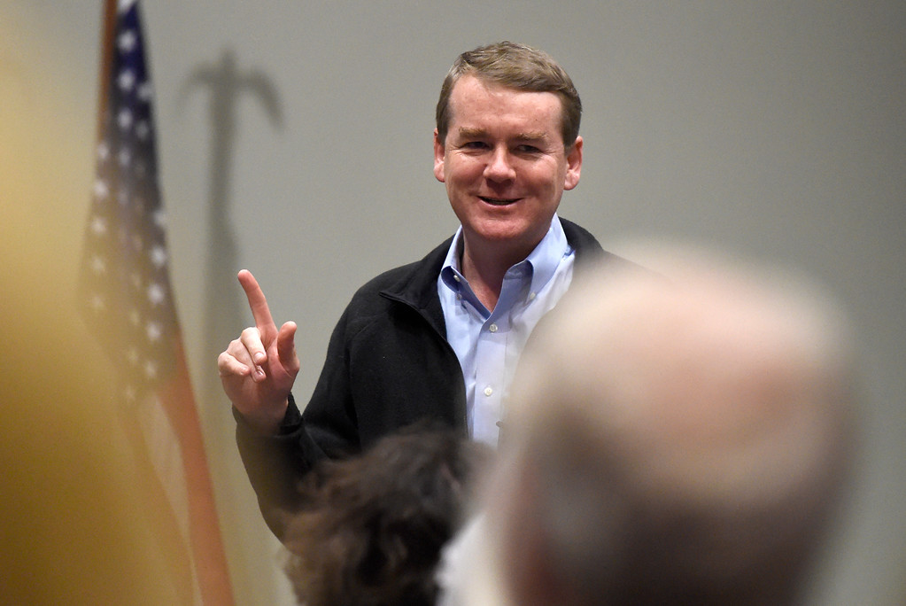 . U.S. Sen. Michael Bennet speaks to a crowd during a town hall meeting at UCAR on Friday in Boulder. For more photos and a video interview with Bennett go to www.dailycamera.com Jeremy Papasso/ Staff Photographer/ May 19, 2017