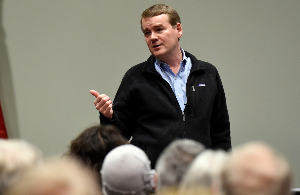 . U.S. Sen. Michael Bennet speaks during a town hall meeting at UCAR on Friday in Boulder. For more photos and a video interview with Bennett go to www.dailycamera.com Jeremy Papasso/ Staff Photographer/ May 19, 2017