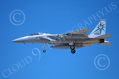 F-15USAF 00238 A landing McDonnell Douglas F-15 Eagle jet fighter USAF 76059 318th FIS GREEN DRAGONS 7-1988 military airplane picture by Michael Grove, Sr