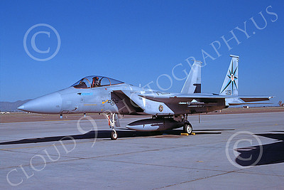 F-15USAF 00059 A static McDonnell Douglas F-15 Eagle jet fighter USAF 76051 318th FIS GREEN DRAGONS Luke AFB 9-1988 military airplane picture by Kevin L Patrick