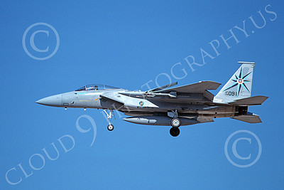 F-15USAF 00226 A landing McDonnell Douglas F-15 Eagle jet fighter USAF 76091 318th FIS GREEN DRAGONS 10-1986 military airplane picture by Michael Grove, Sr