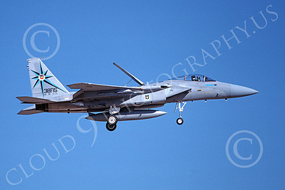 F-15USAF 00218 A landing McDonnell Douglas F-15 Eagle jet fighter USAF 76111 318th FIS GREEN DRAGONS 7-1988 military airplane picture by Michael Grove, Sr