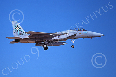 F-15USAF 00220 A landing McDonnell Douglas F-15 Eagle jet fighter USAF 76051 318th FIS GREEN DRAGONS 7-1988 military airplane picture by Michael Grove, Sr