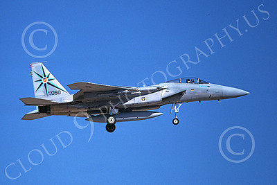 F-15USAF 00216 A landing McDonnell Douglas F-15 Eagle jet fighter USAF 76050 318th FIS GREEN DRAGONS 7-1988 military airplane picture by Michael Grove, Sr
