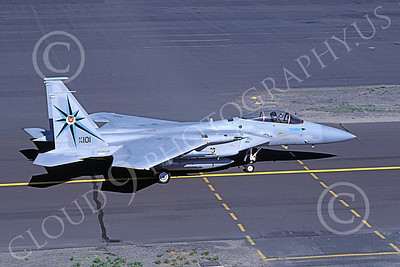 F-15USAF 00055 A taxing McDonnell Douglas F-15 Eagle jet fighter USAF 76101 318th FIS GREEN DRAGONS Kingsley Field 6-1986 military airplane picture by Carl E Porter