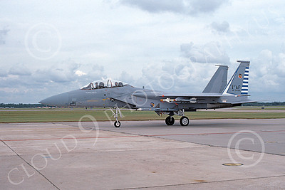 F-15USAF 00047 A taxing McDonnell Douglas F-15B Eagle jet fighter USAF 76126 48th FIS TAZLANGLIAN DEVILS Tyndall AFB 12-1986 military airplane picture by Will Coolidge