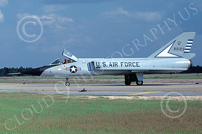 F-106AUSAF 00165 A taxing Convair F-106A Delta Dart USAF 90123 48th FIS TAZLANGLIAN DEVILS Tyndall AFB 10-1978 by Peter B Lewis