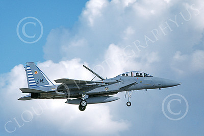 F-15USAF 00214 A landing McDonnell Douglas F-15B Eagle jet fighter USAF 76126 48th FIS TAZLANGLIAN DEVILS 4-1987 military airplane picture by Michael Grove, Sr