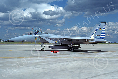 F-15USAF 00053 A static McDonnell Douglas F-15 Eagle jet fighter USAF 76088 48th FIS TAZLANGIAN DEVILS 9-1985 military airplane picture by Will Coolidge