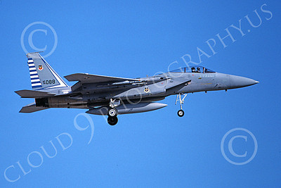 F-15USAF 00210 A landing McDonnell Douglas F-15 Eagle jet fighter USAF 76088 48th FIS TAZLANGLIAN DEVILS 4-1987 military airplane picture by Michael Grove, Sr