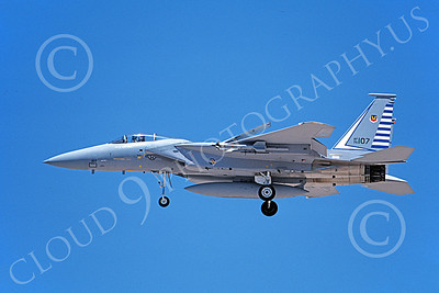 F-15USAF 00204 A landing McDonnell Douglas F-15 Eagle jet fighter USAF 76107 48th FIS TAZLANGLIAN DEVILS 7-1987 military airplane picture by Michael Grove, Sr