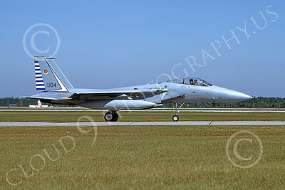 F-15USAF 00045 A taxing McDonnell Douglas F-15 Eagle jet fighter USAF 76104 48th FIS TAZLANGLIAN DEVILS Tyndall AFB 10-1982 military airplane picture by Will Coolidge