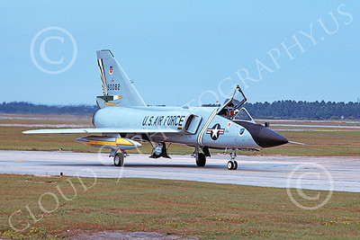 F-106AUSAF 00151 A taxing Convair F-106A Delta Dart USAF 90082 49th FIS CAVALIERS AND GREEN EAGLES Tyndall AFB 10-1982 military airplane picture by Carl E Porter