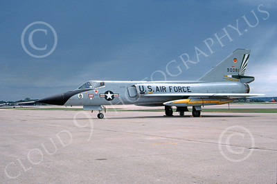 F-106AUSAF 00145 A static Convair F-106A Delta Dart USAF 90081 49th FIS CAVALIERS AND GREEN EAGLES 6-1981 military airplane picture by Donald S McGarry