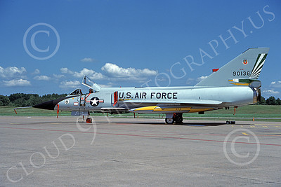 F-106AUSAF 00157 A static Convair F-106A Delta Dart USAF 90136 49th FIS CAVALIERS AND EAGLES 7-1988 military airplane picture by David F Brown