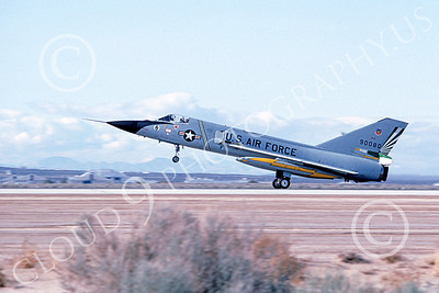 F-106AUSAF 00147 A landing Convair F-106A Delta Dart USAF 90080 49th FIS CAVALIERS AND GREEN EAGLES Edwards AFB 3-1983 military airplane picture by Michael Grove, Sr