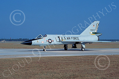 F-106AUSAF 00153 A taxing Convair F-106A Delta Dart USAF 90077 49th FIS CAVALIERS AND GREEN EAGLES Tyndall AFB 10-1984 military airplane picture by Ray Leader