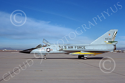 F-106AUSAF 00143 A taxing Convair F-106A Delta Dart USAF 90135 49th FIS CAVALIERS AND GREEN EAGLES D-M AFB 1-1980 military airplane picture by Benjamin Knowles, Jr