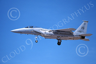 F-15USAF 00172 A landing McDonnell Douglas F-15 Eagle jet fighter USAF 80027 57th FIS BLACK KNIGHTS IS code 4-1990 military airplane picture by Michael Grove, Sr