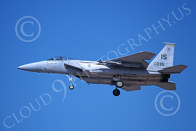 F-15USAF 00170 A landing McDonnell Douglas F-15 Eagle jet fighter USAF 80035 57th FIS BLACK KNIGHTS IS code 2-1993 military airplane picture by Michael Grove, Sr